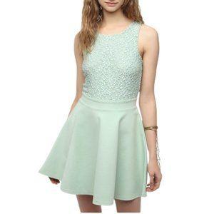 Kimchi Blue | Mint Green Lace Skater Mini Dress